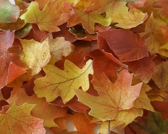 16 Edible Fall Leaves, Wafer Paper Toppers for Cakes, Cupcakes, or Cookies, Drink Toppers, Wedding Cake Decorations - Color on Both Sides