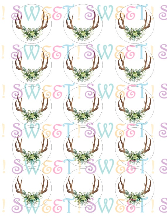 Edible Antlers and Greenery Baby Shower Cupcake Wafer Paper or Frosting Sheet. Cookie Oreo /& Drink Toppers