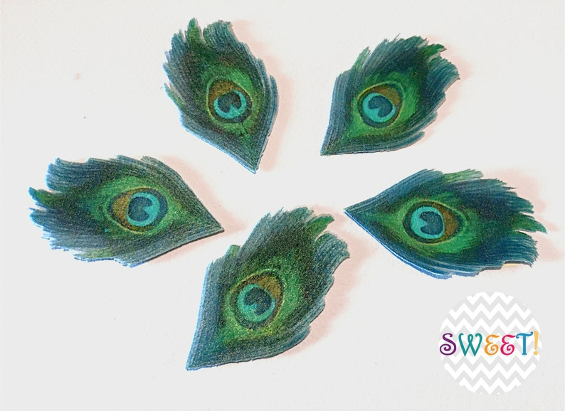 Edible Peacock Feather Double-Sided Wafer Paper Toppers ...
