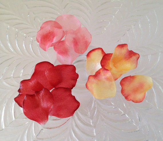 Edible rose petals wafer paper flowers for cakes and cupcakes etsy image 0 mightylinksfo