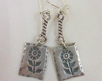 Sunflower Sterling Silver Dangle Earrings