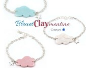 Cloud bracelet and its star in polymer clay