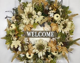 Large Fall Wreath. Welcome Wreath. Fall Door Wreath. Sunflower Wreath. Wreath with Pumpkins. Front Door wreath for Fall.  Floral Wreath.