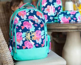 Amelia Collection from Viv /& Lou BackpackLunch Bag SAVE 10/% Buy a 2 pc set cooler tote school bag Monogrammed Bookbag