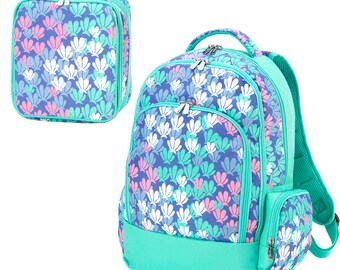 Embroidered Backpack Monogrammed Lunch Box Embroidered Lunchbox Personalized Pencil Bag in Mermazing Personalized Kids Backpack