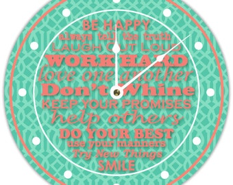 Clock in Trellis Pattern with Be Happy Quote