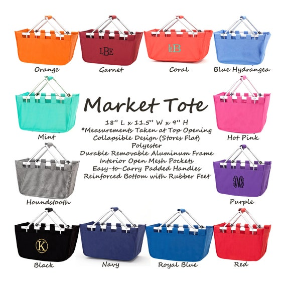 Tote Personalized Market Tote Monogrammed Market Tote Blue Hydrangea Mini Market Tote Market Tote Embroidered Market Tote Mini Tote