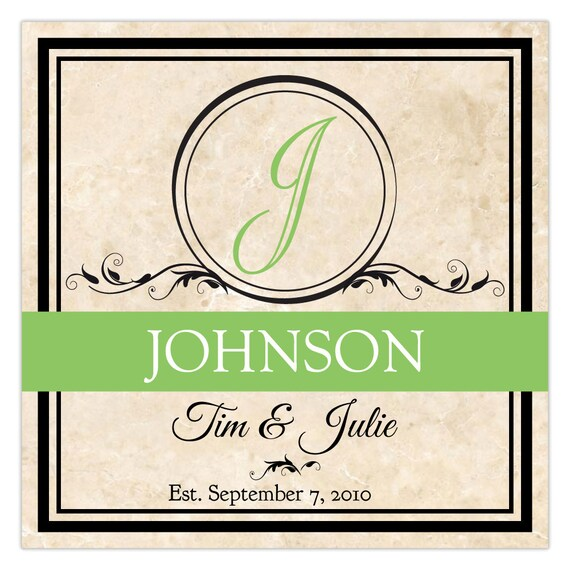 2 letter last names letter of last name with names and date wedding tile etsy 10244