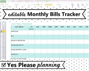 image about Create a Printable Monthly Bill Organizer named Invoice chart Etsy