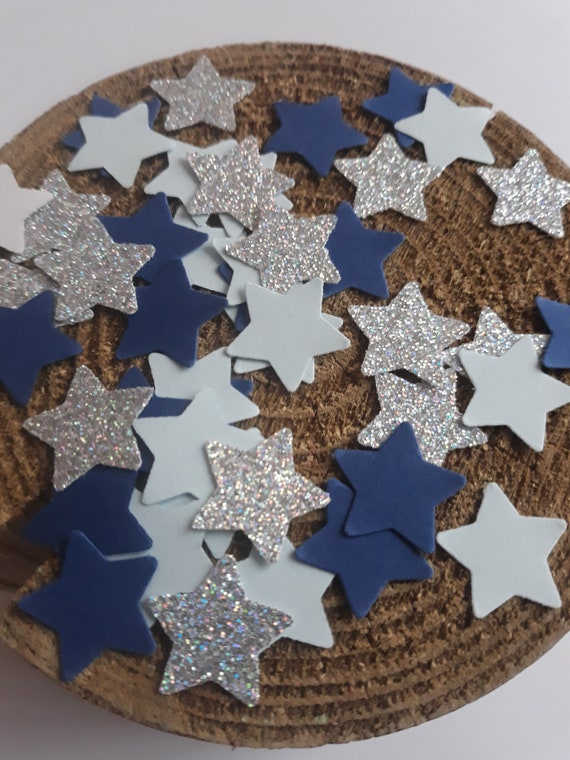 Table Scatter Star Party Supplies Star Baby Shower Confetti Twinkle Twinkle Little Star Party Silver Glitter and Blue Star Confetti