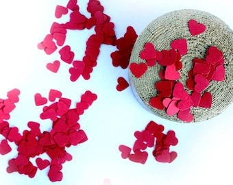 Red Paper Hearts Confetti, Wedding Heart Confetti, Love Confetti, Heart Die Cuts, Wedding Decoration, Valentine Day confetti