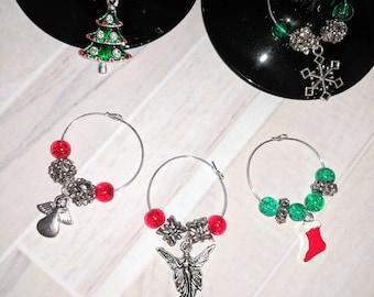 Wine collars, wine accessories, Xmas wine collars, wine gifts, gifts for her, santa wine collars, wine glass charm, stocking stuffers,