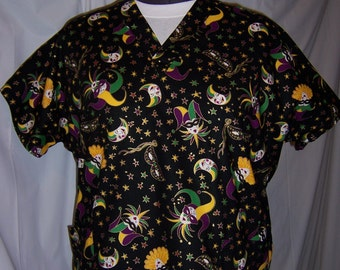 Mardis Gras cotton scrub top