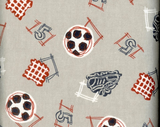 Soccer Ball, cozy cotton FLANNEL, sold by the yard  #238