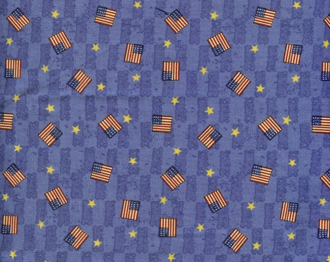 Mini flags on blue background 100% cotton fabric, sold by the yard   #78