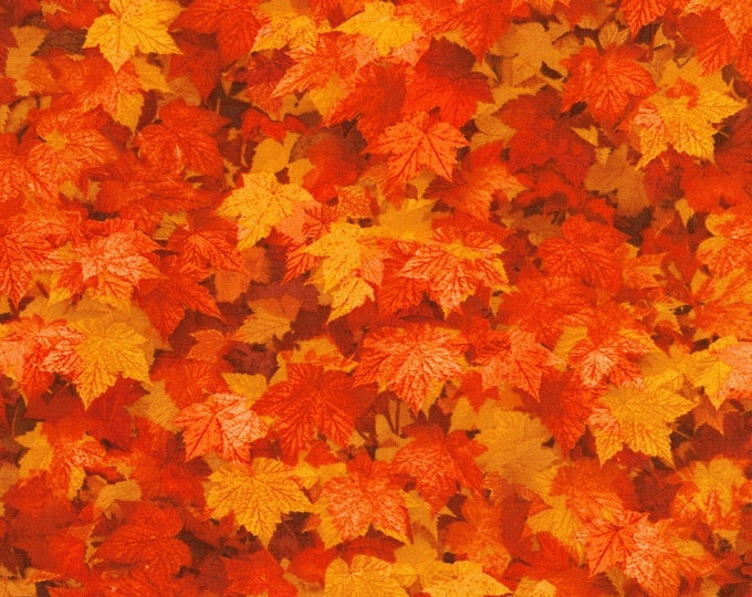 Packed Leaves 100% cotton fabric- sold by the yard  #525