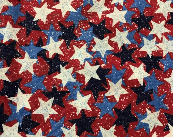 Glittery stars cotton fabric sold by ( multiple lengths)