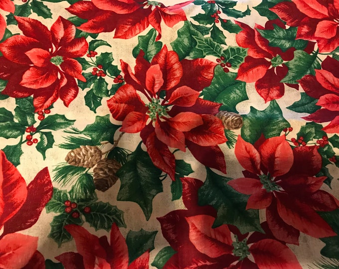 Poinsettia fabric, sold by the yard
