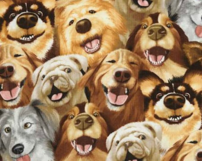 Dog Selfie  100% cotton fabric- sold by the yard  #523
