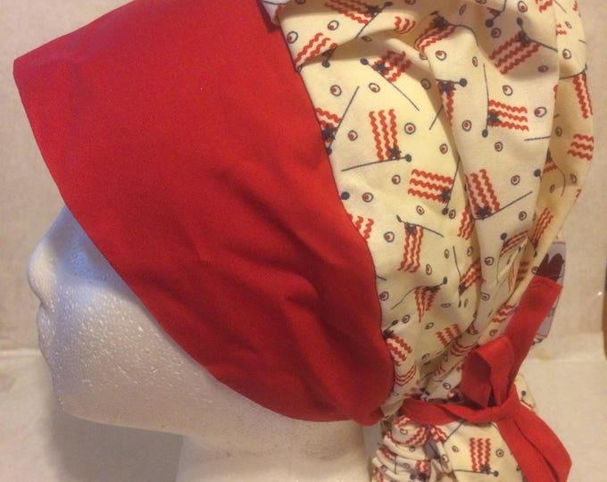 Small Flags cotton, fabric, ponytail scrub cap