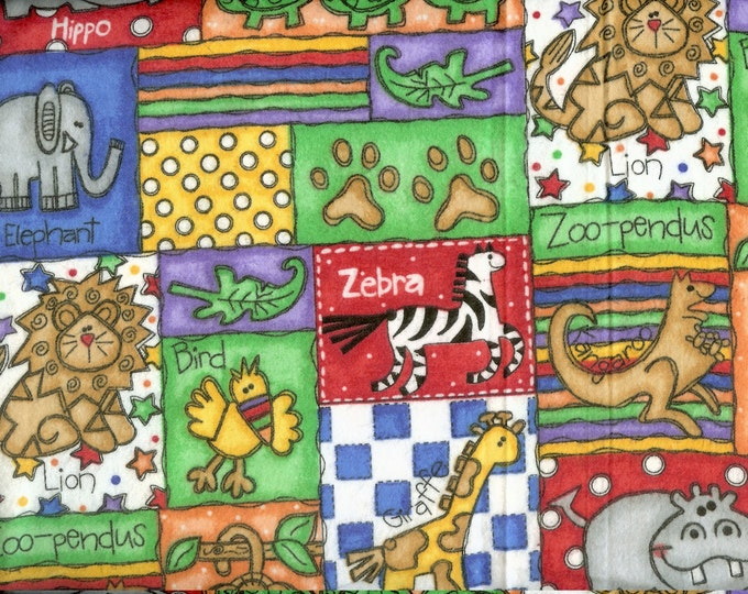 Day at the Zoo cozy cotton FLANNEL, sold by the yard  #39