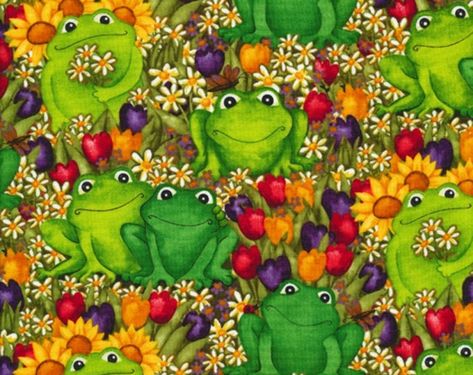 Green Frogs  100% cotton fabric, sold by the yard  #514