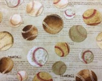 Baseballs 2  100%cotton fabric, sold by the yard  #509