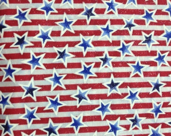 Blue stars on red and white striped background  cotton fabric-sold by( multiple lengths)  #61