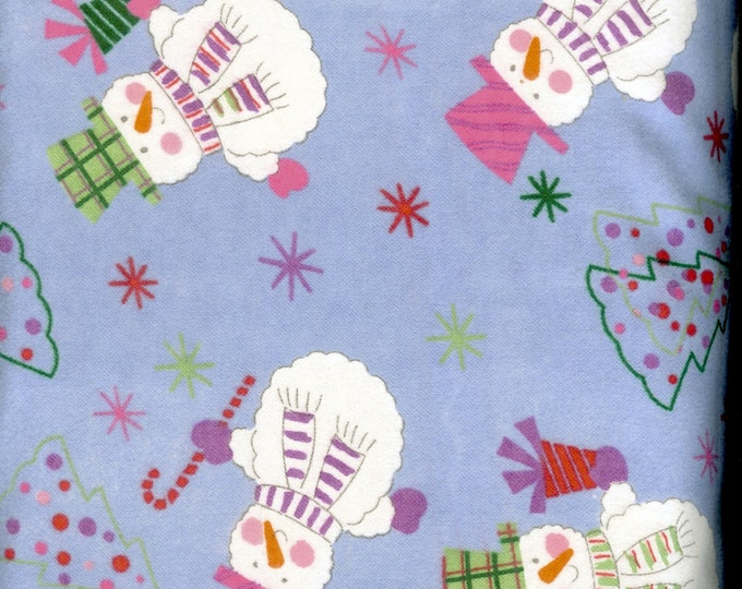 Snowmen cozy cotton FLANNEL, sold by the yard  #242