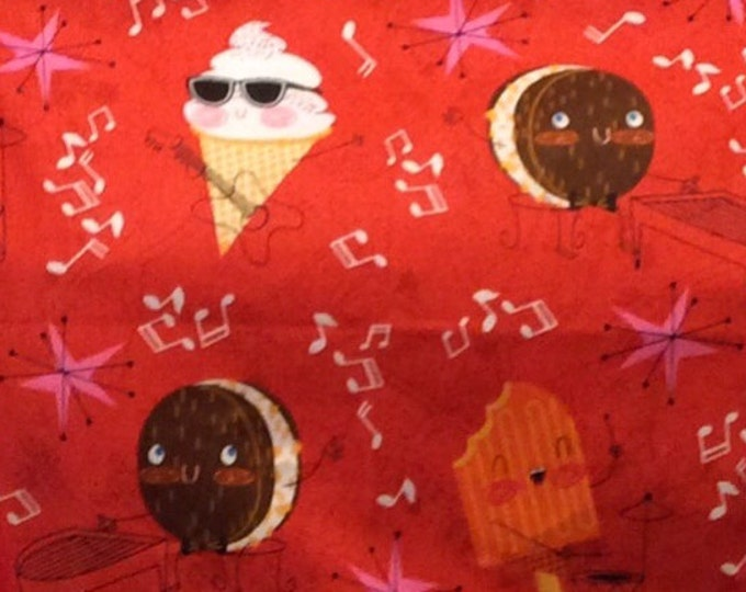 Funny Ice Cream fabric sold by the yard   #491
