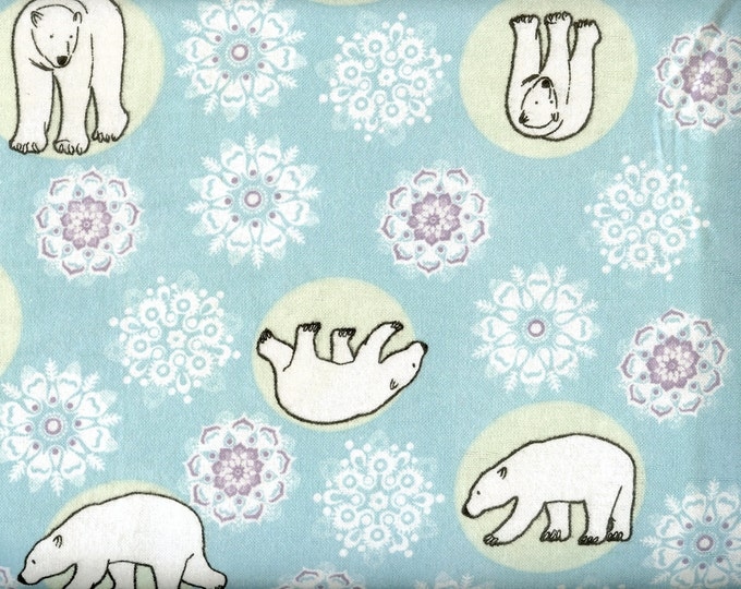 Polar Bear cozy cotton FLANNEL, sold by the yard  #235