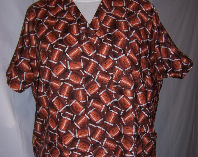 Football print, cotton scrub top