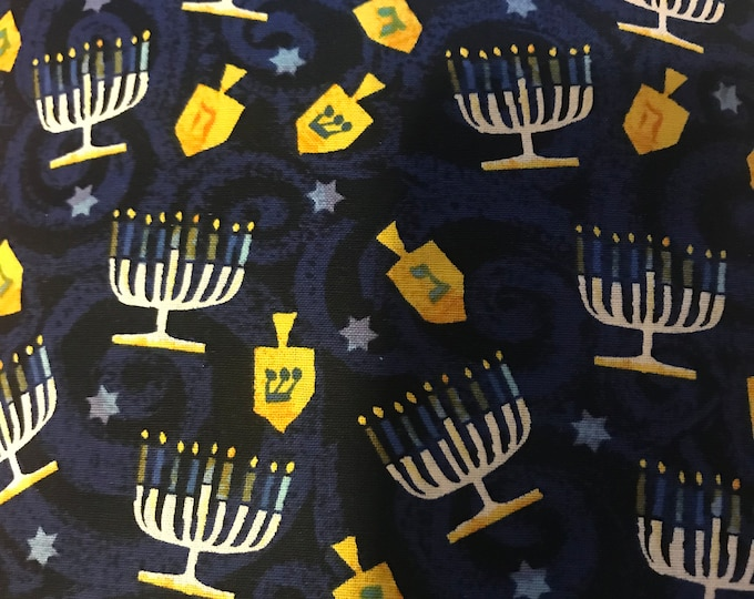Hanukkah Menorahs and Dreidels  100% cotton fabric, sold by the yard