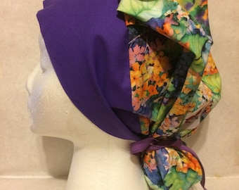 Purple Hydrangea cotton ponytail scrub cap