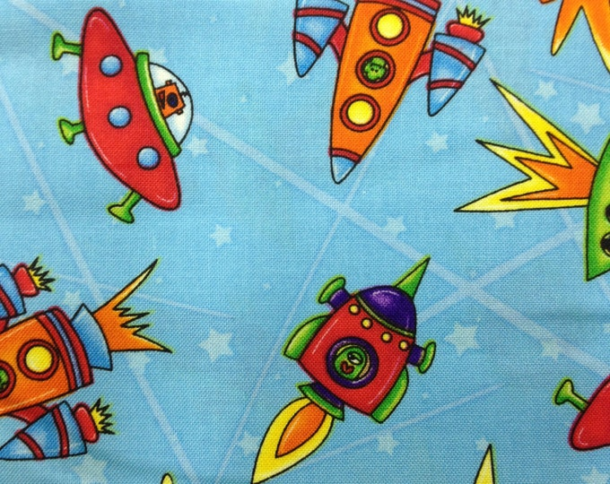 Sapcebots 100% cotton fabric- sold by the yard   #273
