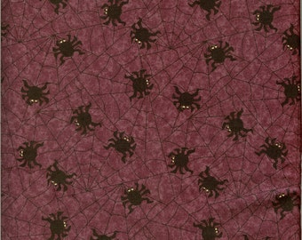Spiders on purple background fabric- sold by ( multiple lengths)  #175