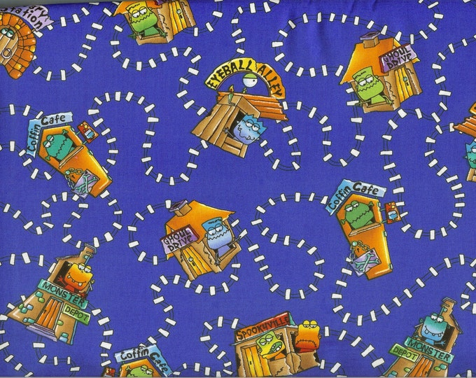 Monsters on the Trail fabric- sold by the yard  #195
