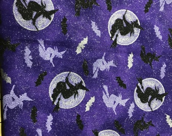 Purple Witch  cotton fabric sold by ( multiple lengths)