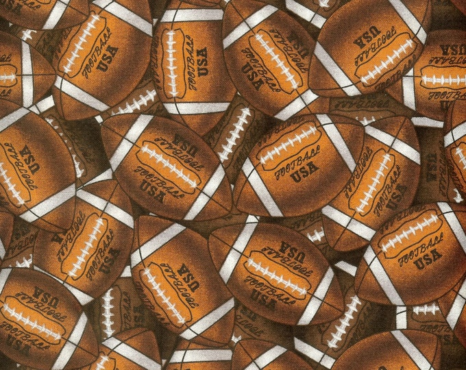 Footballs 100% cotton fabric, sold by ( multiple lengths)  #55