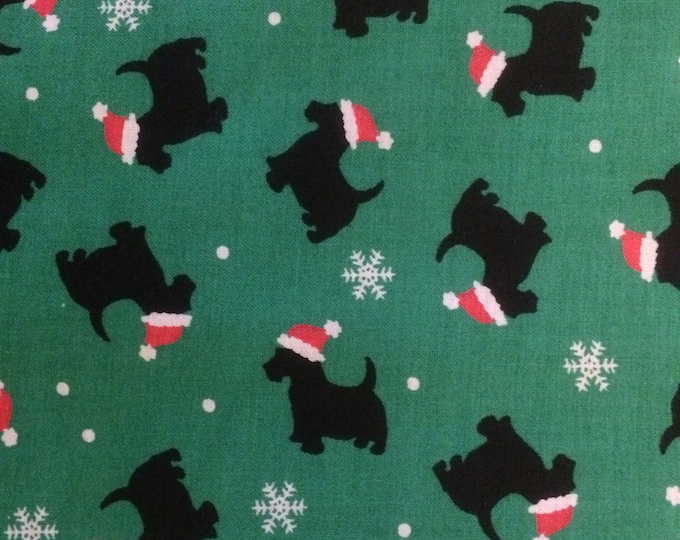 Christmas Scotties 100% cotton fabric, sold by the yard