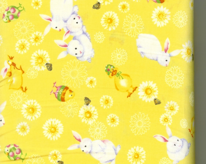 Easter Bunnies 100% cotton fabric- sold by the yard  #250