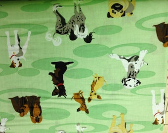 Puppy Show 100% cotton fabric, sold by the yard  #305