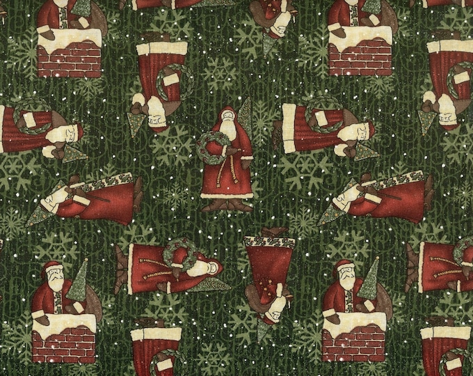 Jolly ol' Saint Nick 100% cotton fabric, sold by the yard  #190