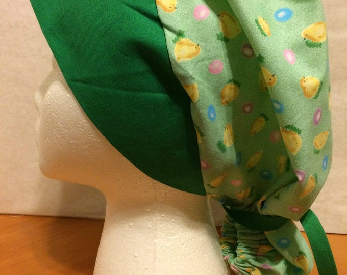 Easter Chicks, fabric Ponytail Scrub Cap