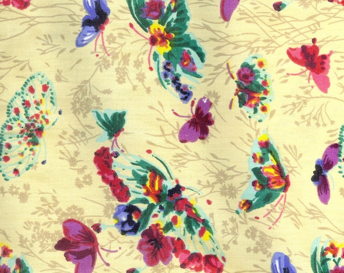 Butterflies and flowers  Poly/ cotton fabric, sold by ( multiple lengths) #257