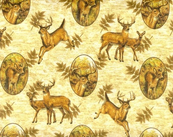 Deer Season 100% cotton fabric, sold by the yard  #63