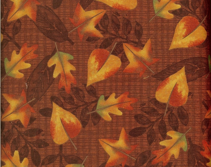 Autumn Leaves 100% cotton fabric, sold by the yard   #192