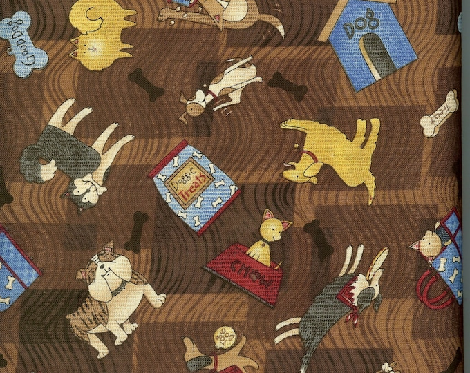 Dogs on Brown 100% cotton fabric, sold by the yard  #45