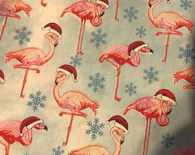 Flamingo Santas  100% cotton fabric, sold by the yard