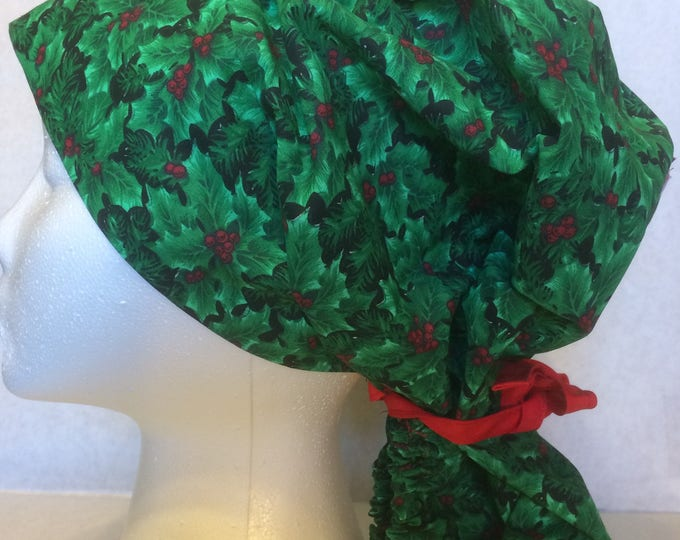 Holly Leaves cotton ponytail scrub cap